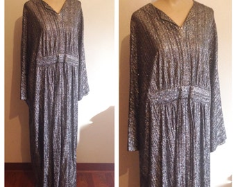 Vintage 60s 70s metallic caftan maxi dress