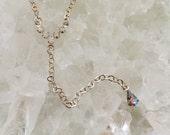 Swarovski AB crystal delicate lariat- crystal lariat, rhinestone lariat, delicate necklace, silver necklace