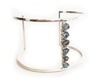 Blue Herkimer Cuff - Sterling Silver, gemstone cuff, herkimer cuff, modern cuff, delicate jewelry
