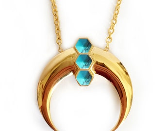 Boheme Deco Crescent - Turquoise, gold plated necklace