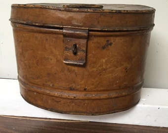 Vintage Metal Box with Hinged Lid
