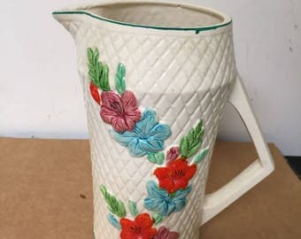 Vintage Ceramic Pitcher with Flowers Japan