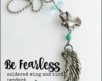 Be Fearless Rustic Soldered Wing and Bird Charm Pendant
