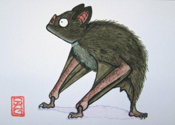 ACEO Vampire Bat - Archival Print Watercolor Art