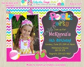 POOL PARTY invitation invite Girl Pool Party Birthday invitation Photo Picture chalkboard Chevron rainbow DIY  Print your own