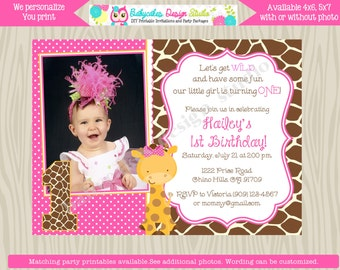 1st birthday invitation Girl Giraffe Birthday Invitation, Giraffe invitation Wild One Birthday invitation Wild One 1st birthday giraffe pink