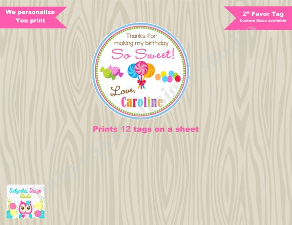 Sweet Shoppe Favor Tag Thank You Tags Candyland Birthday - DIY PARTY PRINTABLES