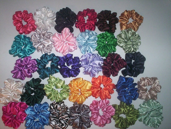 Special Order For Angie 6 Satin Hair Scrunchies Handmade  32 Colors To Choose From  4 NEW COLORS ADDED