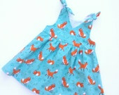 Baby Gift Handmade Puperita Design Size 12 Months - Girl Gift Fox Theme Dress - Baby Shower Gift Ready to Ship 12 Months Fully Lined