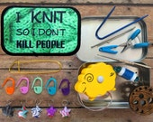 I Knit so I Don't Kill People - Knitter's Tool Tin/funny gift for knitter