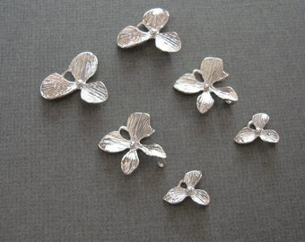Triple Orchid Flower Charm Connectors Platinum Plated.