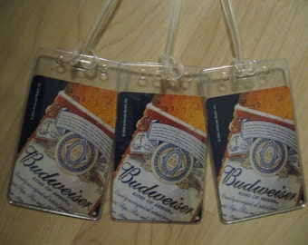 Budweiser Luggage Tags - Repurposed Vintage Bud Beer Playing Card Name Tag Set 3