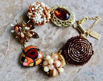 Vintage Earring Bracelet, Bridesmaid Gift, Copper, Rust, Gold Topaz, Brown, Boho Reclaimed Upcycled Under 40 Rhinestone Jennifer Jones, OOAK