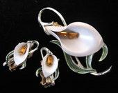 Vintage PAKULA Enamel Rhinestone Lily Flower Brooch & Earrings Set