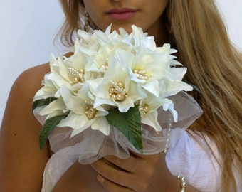 Silk wedding bouquet,silk bridal bouquet alternative,lily Bouquet,Ivory bouquet,pearl Bouquet,bride bouquet,alternative bouquet,silk bouquet