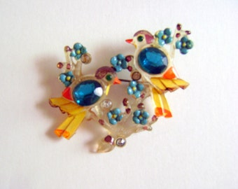 Vintage Celluloid Brooch Birds and Flowers 1930s