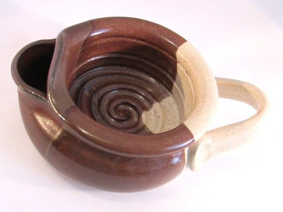Shaving Scuttle Mug Cup Bowl For Comfort Hot Wet Shave - Handmade Pottery Glazed Rust Red Brown & Speckled Cream