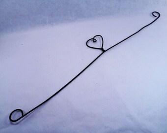 Heart Shaped Black Wire Hanger Vintage 80s