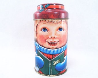 People Tin Caroler by Cap Tins Vintage 80s