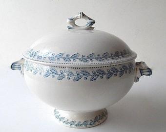 Antique French Porcelain Soup Tureen Blue Transferware
