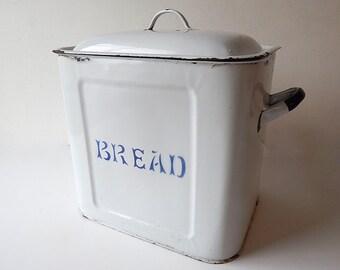 Vintage English Enameled  Bread Box  c. 1940-50
