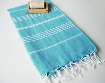 SALE 50 OFF/ Turkish Beach Bath Towel / Classic Peshtemal / Crystal Blue / Wedding Gift, Spa, Swim, Pool Towels and Pareo