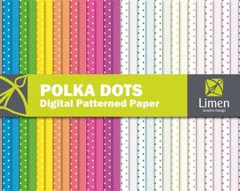 Neon Polka Dot Digital Paper Pack, Polka Dot Paper, Neon Papers, Digital Polka Dot Scrapbook Paper, Polka Dot Pattern, Neon Digital Paper