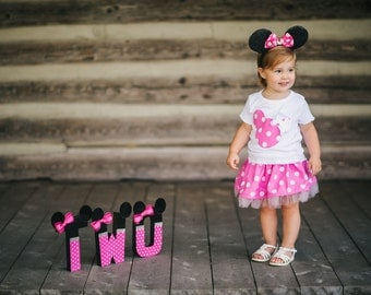 Minnie Mouse shirt and skirt set NB to Toddler sizes
