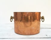 Mauviel  Hammered Copper Champagne Wine Ice Bucket 2 Bottle French Copper Pot Tin Lined Williams Sonoma Brass Handles Made in France