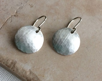 Sterling Silver Disc Earrings - Hammered Silver Earrings - Dangle - Medium