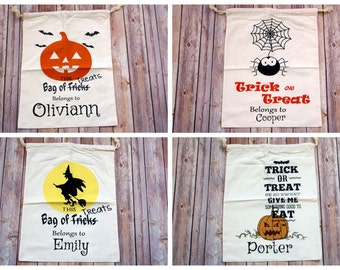 Personalized Halloween Candy Sacks - 4 Designs