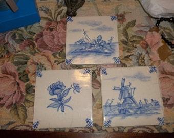 Vintage Franciscan Tiles Blue White 3 Gladding, McBean & Co Maker