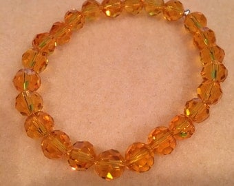 Faceted Autumn Yellow 8mm Crystal Bead Stretch Bracelet with Sterling Silver Accent