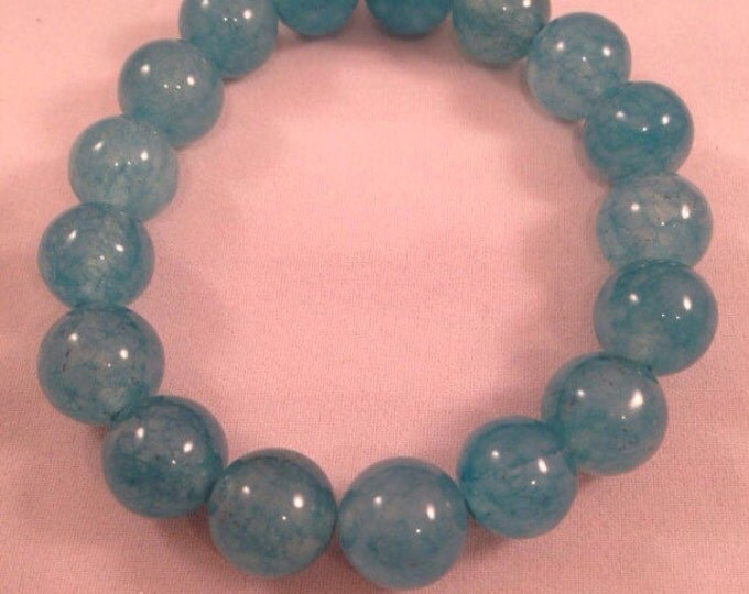 Tropical Caribbean Pool Blue Jade 12mm Round Stretch Bead Bracelet with Sterling Silver Accent
