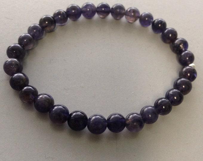 Iolite Bracelet, Iolite Stretch Bracelet, Iolite Beaded Bracelet, Iolite Bead Bracelet, 7mm Bracelet, Stretch Bracelet, Iolite Jewelry
