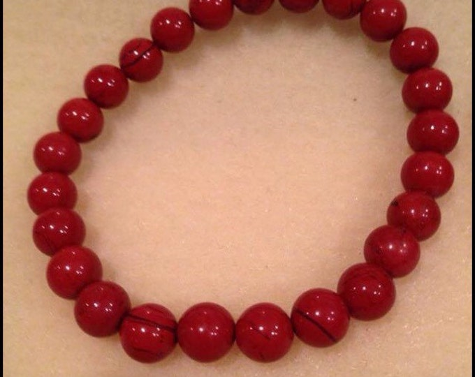 Red Apple Flame Jasper 8mm Round Bead Stretch Bracelet With Sterling Silver Accent