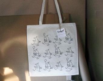 Birds Parade. Natural Canvas Colouring Tote Bag, Carrier 36x39cm Long Handles