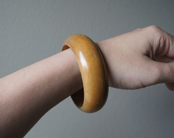 Vintage Bangle Bracelet Chunky Light Colored Wood Boho Bangle Wood Bracelet Wood Cuff Large Bracelet Wooden Bracelet Wooden Bangle