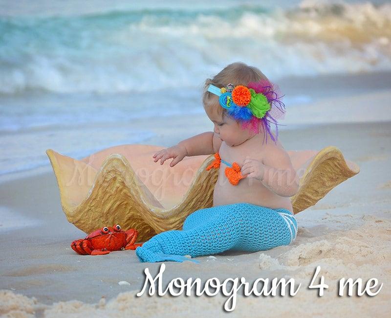 Beach Mermaid Headband Hair Bow Under the sea by monogram4me