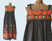 1970s Ethnic Embroidered Mirror Dress size L