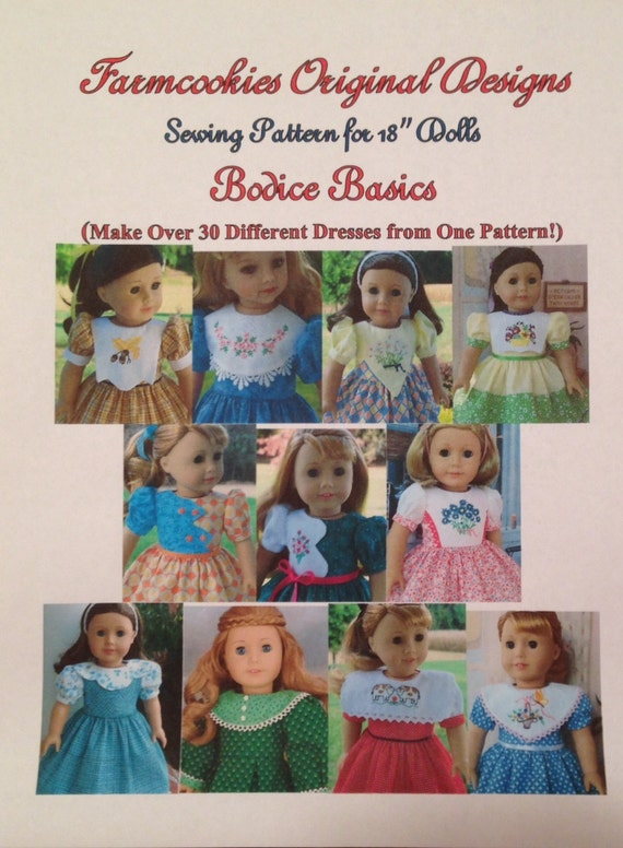"Extra Large PDF  Sewing Pattern / BODICE BASICS for American Girl® or other 18"" Dolls"