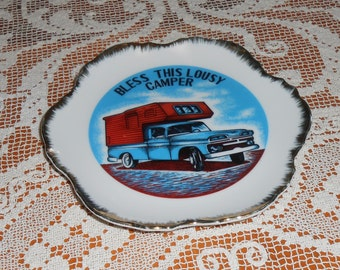 """Vintage """" Bless This Lousy Camper """" Plate - Wall Decor"""