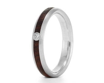 Wood Engagement Ring, wood and mossanite rings UK