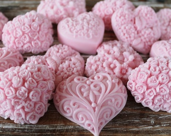 20 Pink Heart Soap Favors:  Wedding Favors, Birthday Favors, Beach Favors, Baby Shower Favors, Mothers Day