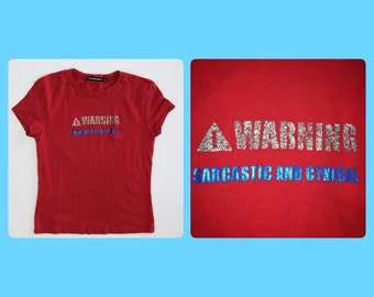 "90's ""Warning, Sarcastic and Cynical"" Glitter Red and Blue T-shirt Crop Top  // S- M"