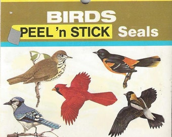 Eureka Birds Vintage Peel 'n Stick Seals, C1970