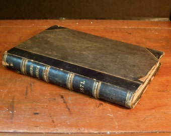 Antique 1871 Demorest Young America Book / Brown Leather / Raised Bands / Monthly Magazine