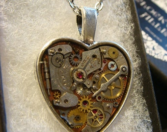 Clockwork Heart with Vintage Watch Parts Steampunk Inspired Necklace-  (1992)