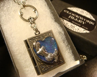 Silver Mermaid in Heart - Book LOCKET Necklace (2022)