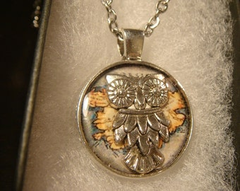 Small Silver Owl Vintage Map  Pendant Necklace (2093)